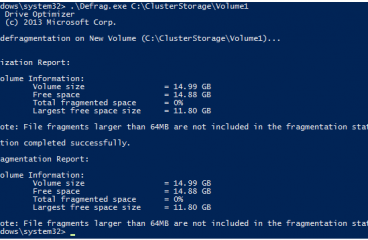 Cluster Shared Volume (CSV)  Chkdsk ve Defrag